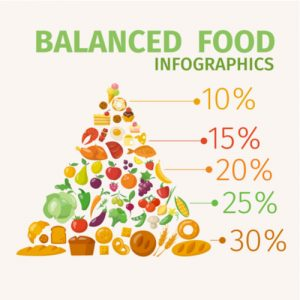 food pyramid, balanced food infographics
