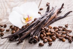 coffee beans with vanilla bean stalks
