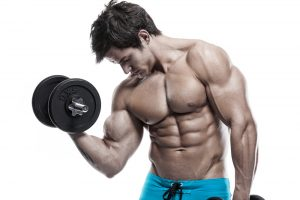 muscle man lifting weight