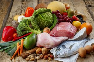 paleo diet food, meat, fish, fruit, vegetable, nuts