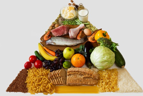 food pyramid, balanced food, food samples