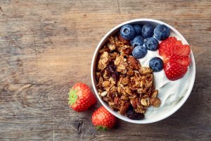 creamy greek yogurt with berries and nuts