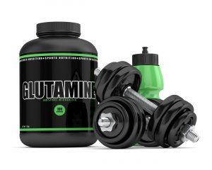 glutamine supplement with dumbbells
